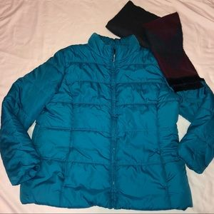 Old Navy Puffer Coat Lightweight Turquoise XL